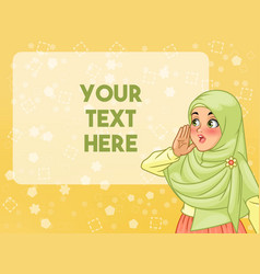 Veiled muslim woman shout using her hands vector