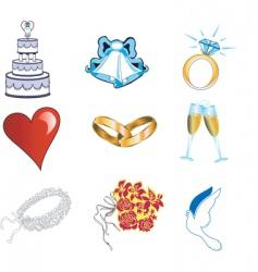 wedding button icons vector image