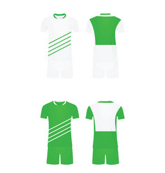 white and green soccer shirt and shorts vector image
