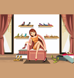 Woman shopping for shoes vector