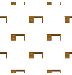 Wooden office desk pattern flat vector