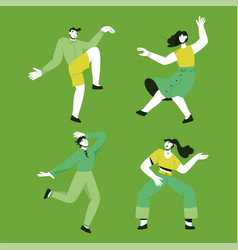 young dancing people set isolated persons vector image