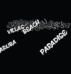 Aruba paradise beach villas text background word vector