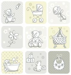 Baby card set vector image vector image
