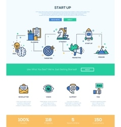 Business start up line flat design banner with vector image vector image