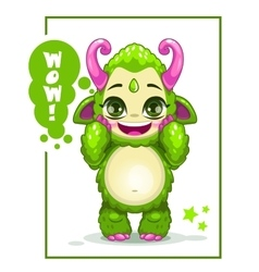 Cartoon cute green monster vector image