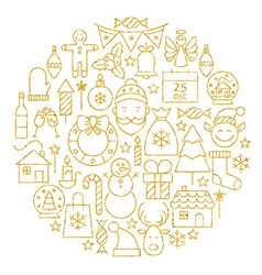 Gold Merry Christmas Holiday Line Icons Set Circle vector image