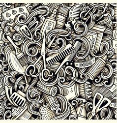 Graphic hair salon artistic doodles seamless vector