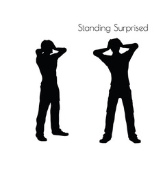 Man in standing surprised pose on white background vector