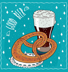 Pretzel or kringle with glass of stout or porter vector
