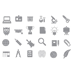 School elements gray icons set vector image vector image
