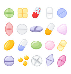 set of different isolated colorful pills cartoon vector image
