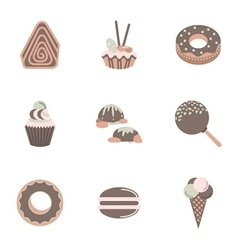 Sweets flat color icons set vector image vector image