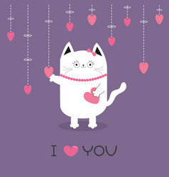 white cat hanging pink hearts dash line heart vector image