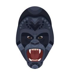 angry wild ferocious gorilla screaming head logo vector image vector image