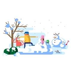Children playing snowballs vector image