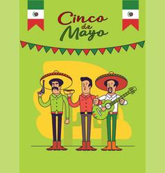 cinco de mayo poster design mexicans characters vector image vector image