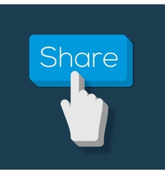 Share button with hand shaped cursor vector