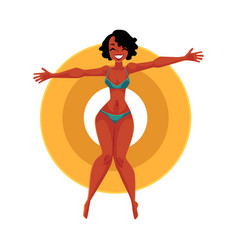 young black girl woman in bikini floating on vector image vector image