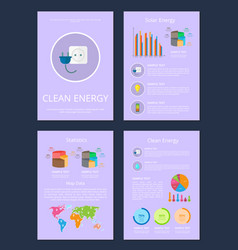 four clean solar energy statistics map data cards vector image