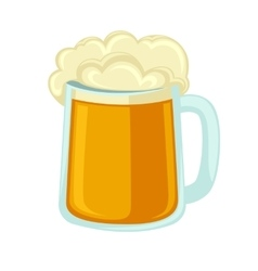 Lager beer glass with foam Icon mug cold alcohol vector image