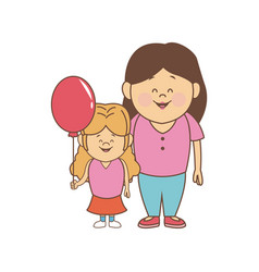 mother with her daughter together family vector image
