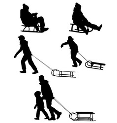 sledding silhouettes vector image vector image