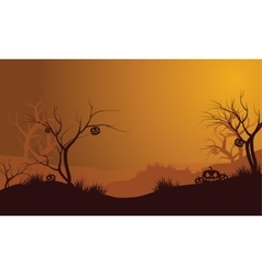 Halloween dry forest and pumpkins silhouette vector image vector image