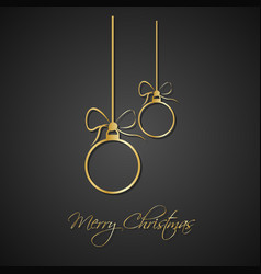 modern simple golden christmas balls with bow vector image vector image