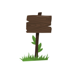 old wooden road sign standing on the grass cartoon vector image