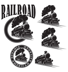 set of templates with locomotive vintage vector image vector image