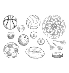 Sketched balls hockey puck and darts items vector image vector image