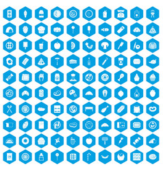100 delicious dishes icons set blue vector