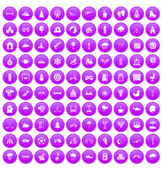 100 kids games icons set purple vector