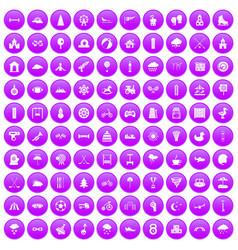 100 kids games icons set purple vector