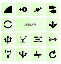 14 arrows icons vector image