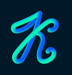 3d tube of the letter k vector image