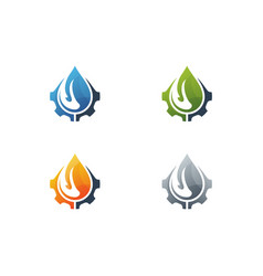 abstract set water drop color icons on white vector image