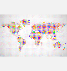 Abstract world map from colorful pixels vector