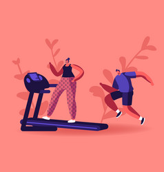 active sport life woman and man running on vector image