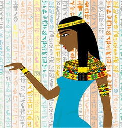 Ancient Egyptian woman over a background with vector