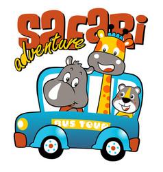 Animals cartoon vacation with mini bus cartoon vector