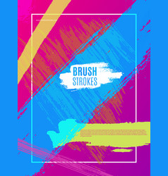 artistic colorful brushstrokes cover design eps10 vector image