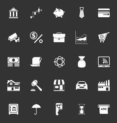 Banking and financial icons on gray background vector image