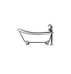 bathtub with tap hand drawn sketch icon vector image