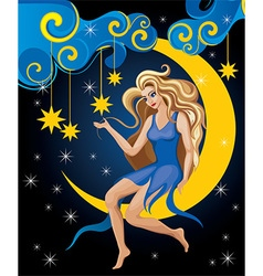 Beautiful Blonde Night Elf vector image