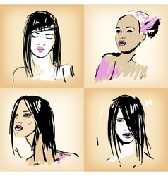 Beautiful girls set vector image