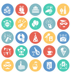 birthday party icons set on color circles vector image