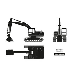 black silhouette excavator top side and front vector image