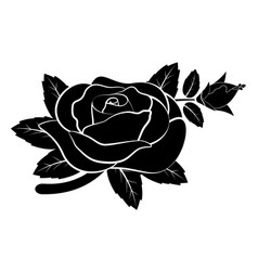 black silhouette rose vector image